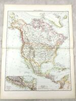1895 Map Of North America Kanada Die United States Antik 19th Jahrhundert Groß