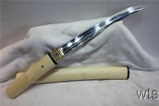 Japanese T10 Clay Tempered Shiro-Take Tanto Japanese Sword Shirasaya Sharp