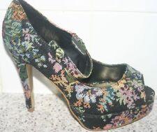 Miss selfridge toile high stilettos-imprimé floral-taille uk 7 - 4 pouces talons