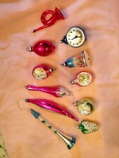 More details for genuine vintage christmas tree decorations x 11 trumpet clock man in the moon