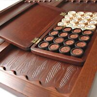 """VERY BIG Natural wood leather """"LUXURY"""" CARVED HANDMADE game Backgammon 21"""" 510mm"""