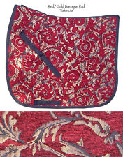 """VALENCIA"" ELEGANT RED GOLD  SWIRL BAROQUE DRESSAGE SADDLE PAD- TAPESTRY"
