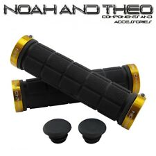 Noah And Theo Double Lock On Mountain Bike Bicycle Handlebar Grips BLACK GOLD