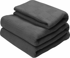 Cotton Throw Blankets (King, Smoke Grey) Breathable Thermal Bed/Sofa Blanket Cou