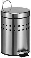 Treteimer Abfalleimer Kosmetikeimer 3 L mit Lochmuster aus mattiertem Edelstahl