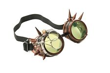 Steampunk Copper Goggles Spike Crazy Burning man Costume Mad Scientist 2X Green