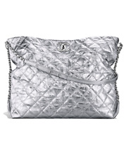 Authentic Chanel Big Bang silver hobo bag purse handbag paperwork box calfskin