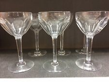6 verres à vin en cristal. Modèle OSRAM cotes plates. H: 140 mm. VAL ST LAMBERT