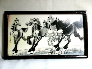 Xu Beihong Framed Tile Replication Double Sided 6 Galloping Horses & Country