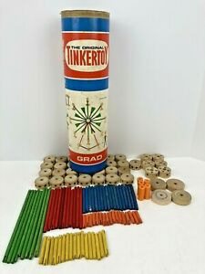 116pc Original Tinkertoy Grad No. 146 Pat. #2208049 2313357 Incomplete For Parts