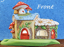 Ceramic Bisque Ready to Paint Lighted Mushroom Daisy Fairy House and leaf base