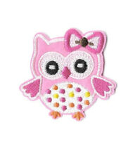 Owl - Bird - Pink - Girl - Embroidered Iron On Applique Patch