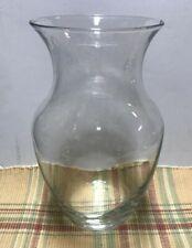 "Crystal Clear Glass Flower Vase 8"" Tall NICE"