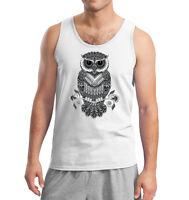 New Men's Black & White Night Owl Tank Top Geometric Tribal Graphic Muscle Tee