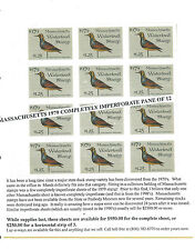 MASSACHUSETTS 1979 WATERFOWL STAMP Completely Imperforated Pane Of 12 RARE! -BBB