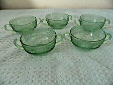 Fostoria Seville Pattern Bullion Bowls Set of Five Green Elegant Glass