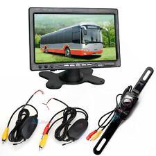 """7"""" TFT LCD Rear view Monitor+Wireless Car Reverse Backup Camera kit Night Vision"""