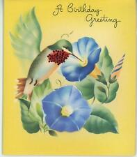 VINTAGE HUMMINGBIRD NECTAR BLUE MORNING GLORY FLOWERS LITHOGRAPH CARD ART PRINT