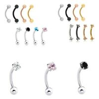 8pcs Eyebrow RINGS Curve Bent Barbell Daith Rook Snug EAR Piercing Jewelry
