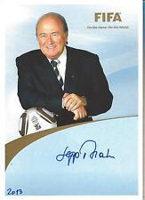 Autogramm Joseph Sepp Blatter ehem. FIFA Präsident handsigniert AK   2013 15-1