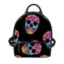 Girls PU Leather Small Mini Cute Backpack School Travel Shoulder Bag Skull Print