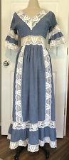 Vintage 1960s Chambray Crochet Prairie Dress Hippy Boho Victorian Rustic Wedding