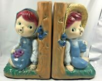 "Vintage Boy and Girl Farmer Bookends Ceramic 6.50"" Height RLM VTG RARE EUC FS"