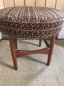 Vintage Retro Teak Mid Century Modern Dressing Table Stool, Orange Brown Boucle