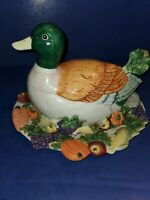 1993 Fitz & Floyd Mallard Duck Harvest Soup Tureen W/ Ladle and serving plate