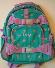 Pottery Barn Kids Small Mackenzie Teal Green Lavender Heart Backpack name TESS