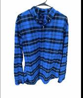 J Crew Mens XL Slim Fit Oxford Shirt Blue Checker Cotton Casual Button Down