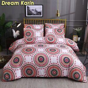 2/3Pcs Geometric Duvet Cover Set Bed Linen Quilt Covers Single Double Queen King