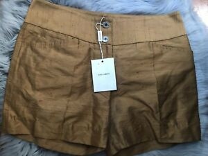 DOLCE & GABBANA Shorts Mini Bronze Silk Logo Buttons Pockets IT44 US8 NWT $675