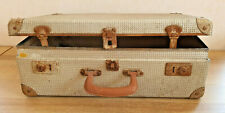 Old Great Suitcase Aluminum And Strapping Iron Handle Leather Vintage Deco