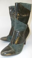 Nine West Womens Boots ALL YOUR SO US 6M Green Suede Leather Snake Embossed Zip