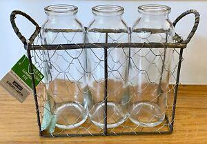 NWT Ashland Garden Set of 3 Glass Decor Milk Bottles in Rustic Wire Basket 7x7