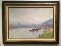 Antique French Impressionist painting Barges La Seine at Rouen BORDRY