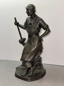 Antique Vintage Bronze Sculpture Signed Fowich ? Man Blacksmith Anvil  Worker