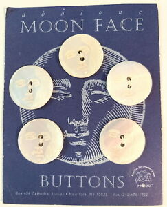 """5 Moon Face Carved Abalone Pearl 1"""" Buttons on Original Card"""