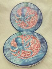 TOMMY BAHAMA Octopus Melamine Dinner Plates Tropical Red White Blue Set of 4