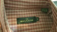 BUGATCHI UOMO BUTTON DOWN LONG SLEEVE SHIRT RED MULTI STRIPED SIZE L MENS LARGE