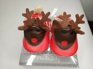 Charlie Baby Reindeer Christmas Shoes / Booties, Size 0-6 Months NEW