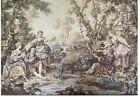 "Vintage Fine European Woven Tapestry Baroque Garden Party Antique 40"" x 56"""