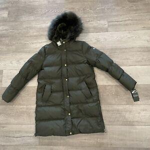 Lauren Ralph Lauren Women Litchfield Loden Olive Down Puffer Hood Jacket Size L