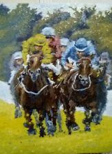 ORIGINAL 15x12 oil painting horse racing impressionist wall art fine jockeys