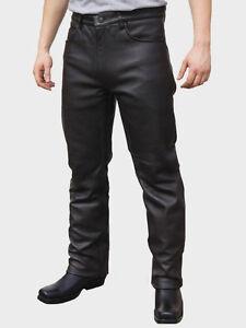JTS 1716 Mens Custom Motorcycle Biker Plain Leather Bike Trouser Jean Black T