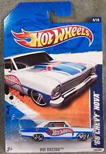 HOT WHEELS ~ 2011 HW RACING 4/10 ~ 1966 CHEVY NOVA ~ WHITE