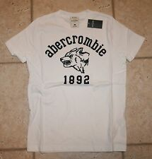 NWT Abercrombie Boys Large White Muscle Fit Wolf T-Shirt
