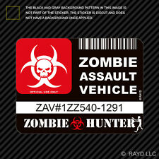 Zombie Assault Vehicle License Sticker Decal Self Adhesive Vinyl apocalypse