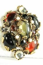 RARE VINTAGE LARGE HOLLYCRAFT POURED GLASS FAUX PEARL PENDANT FOR A NECKLACE